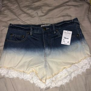 free people high waisted jean shorts wcrochet trim